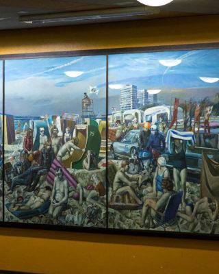 Harald Duwe: Großes Strandbild (mit Hochhäusern) (Foto: KUNST@SH/Jan Petersen, 2017)