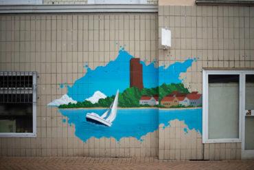Farbverlauf Graffiti: Fassadengestaltung (Foto: KUNST@SH/Jan Petersen, 2019)