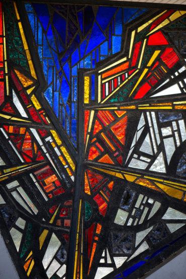 Ernst Günter Hansing: Glasfenster Stadtplan (Foto: KUNST@SH/Jan Petersen, 2020)